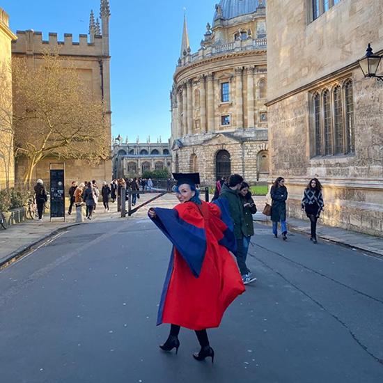Franziska on graduation day at the Radcliffe Camera