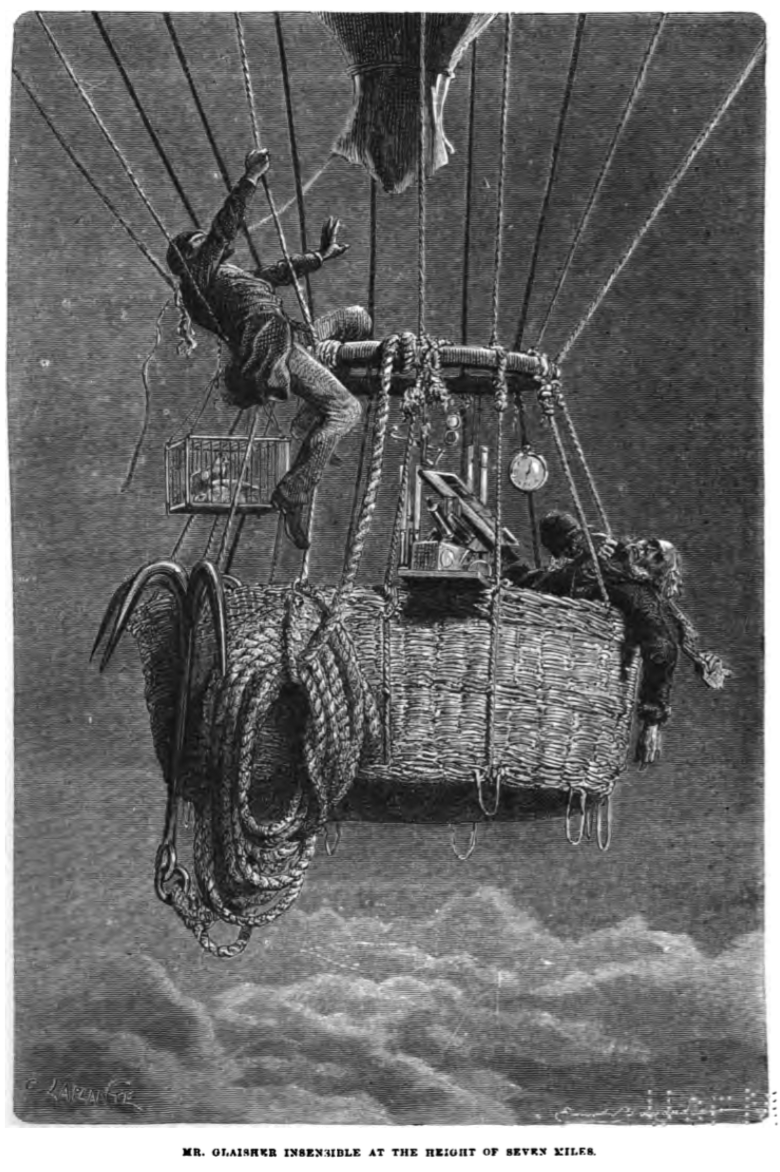A black and white picture of a two men in a balloon, one of whom is unconcious, the other is climbing up out of the basket. Below the picture is the caption 'Mr Glaisher insensible at the hieght of seven miles'