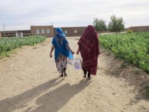 The back of two women, walking along a dust road toward buildings