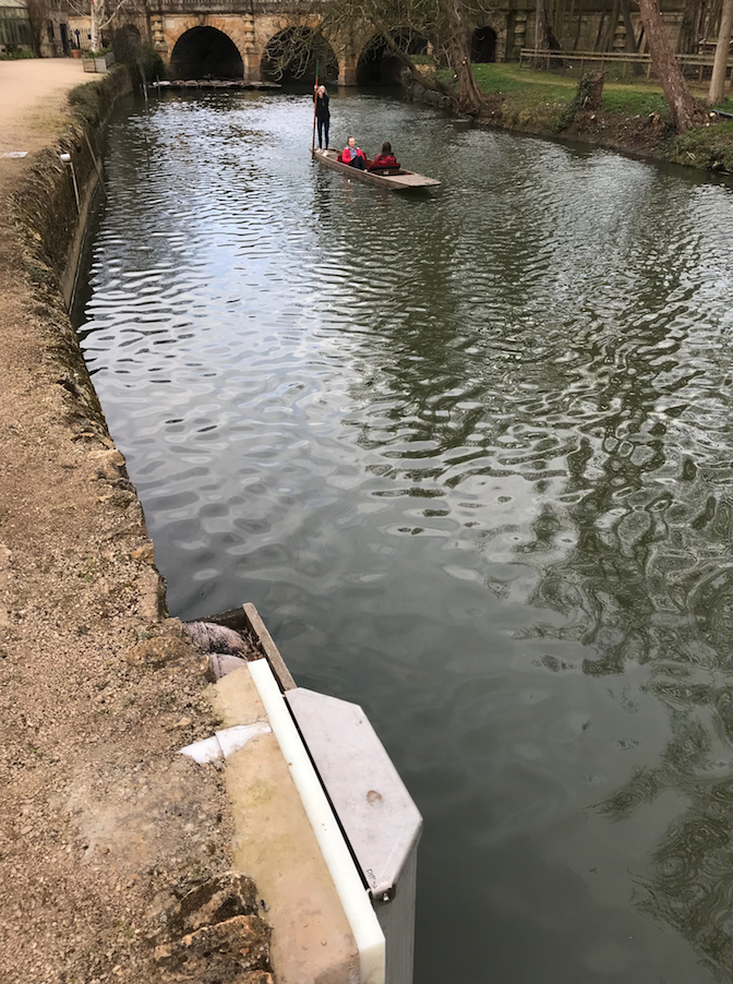 The River Cherwell, with a device built in to the riverbank in the foreground, and punters in the background