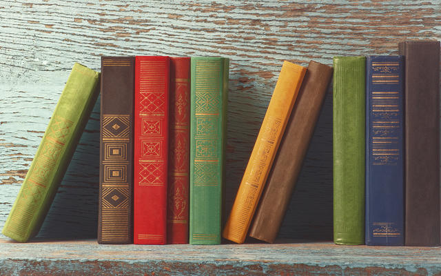 Selection of books shown on a shelf