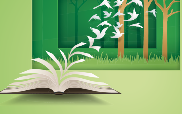 A drawing of an open book, and the pages are turning into birds and flying away