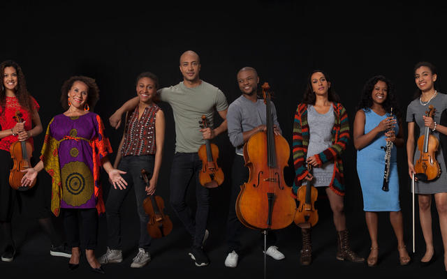 Members of Chineke! Orchestra with their instruments