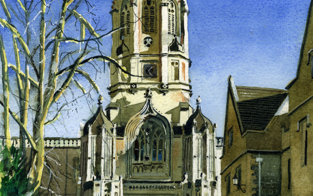 A painting of Tom Tower, St Aldate's by Ian Davis