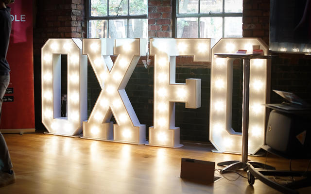 The OXFO sign in the Oxford Foundry