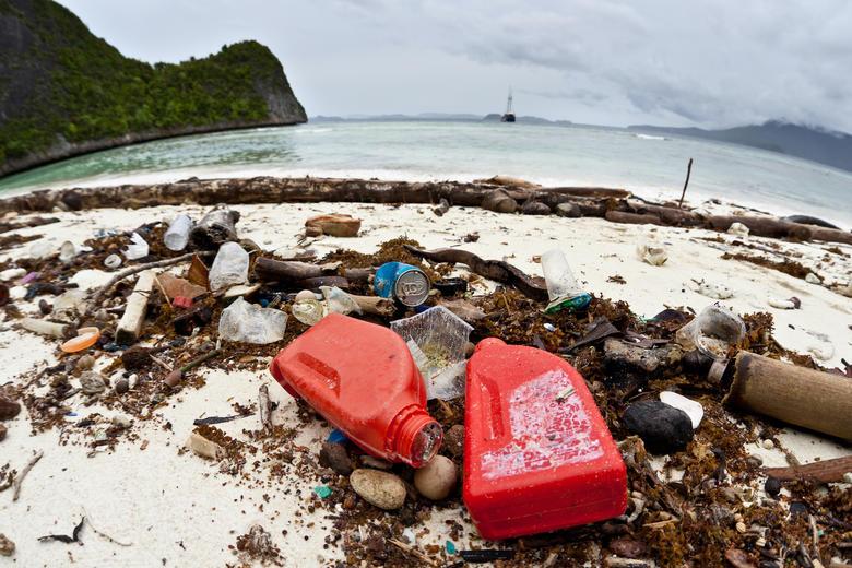 Plastic waste on a tropical beach