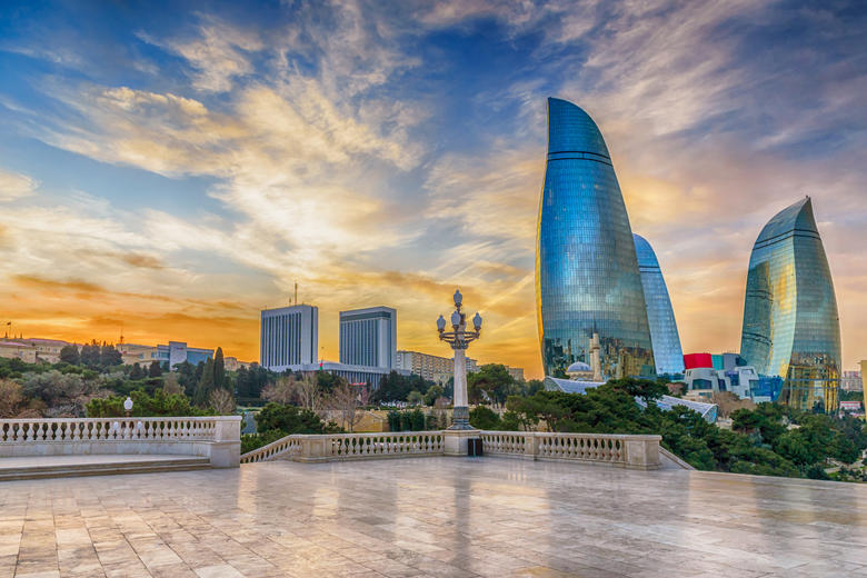 Tall buildings in Baku at sunset