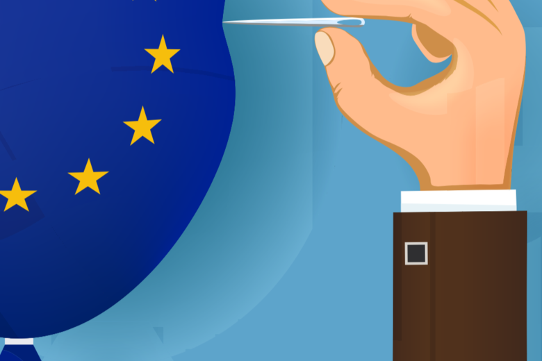 A cartoon drawing of a hand holding a pin, bursting a balloon in the colours of the EU logo