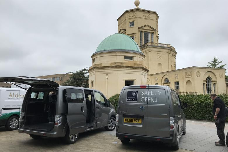 Two electric vehicles parked in the Radcliffe Observatory Quarter
