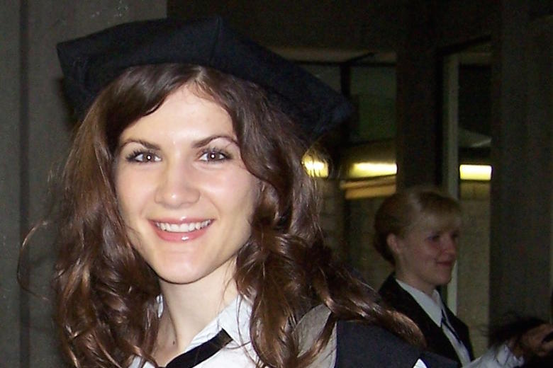 Evie Dunmore after her Masters graduation ceremony