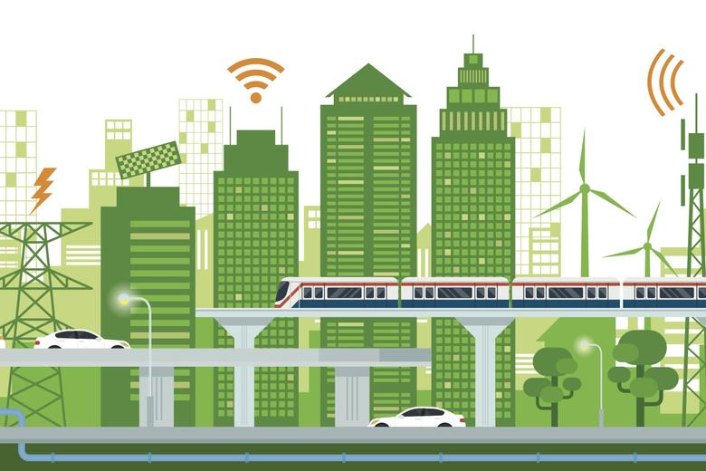 A drawing of different elements of a city's infrastructure, including buildings, bridges, energy sources and communications