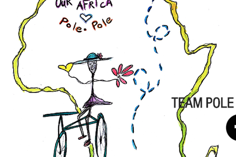 The pole pole logo - a drawing of a cyclist holding flowers, on an outline of the continent of Africa, with a dotted line from the north coast to the south