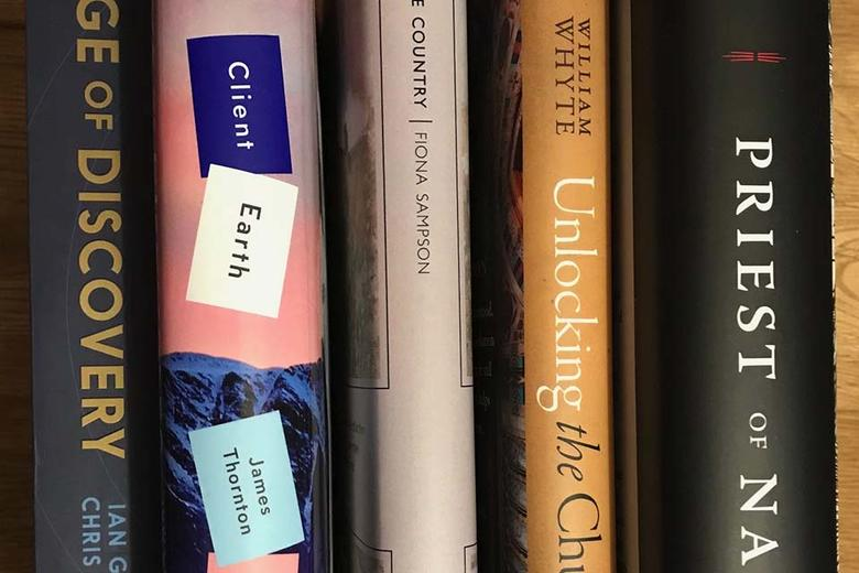 The spine of five books - 'Age of Discovery', 'Client Earth', 'Limestone Country', 'Unlocking the Victorian Church' and 'Priests of Nature'