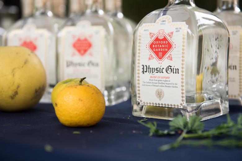 Bottles of Oxford Botanic Garden gin