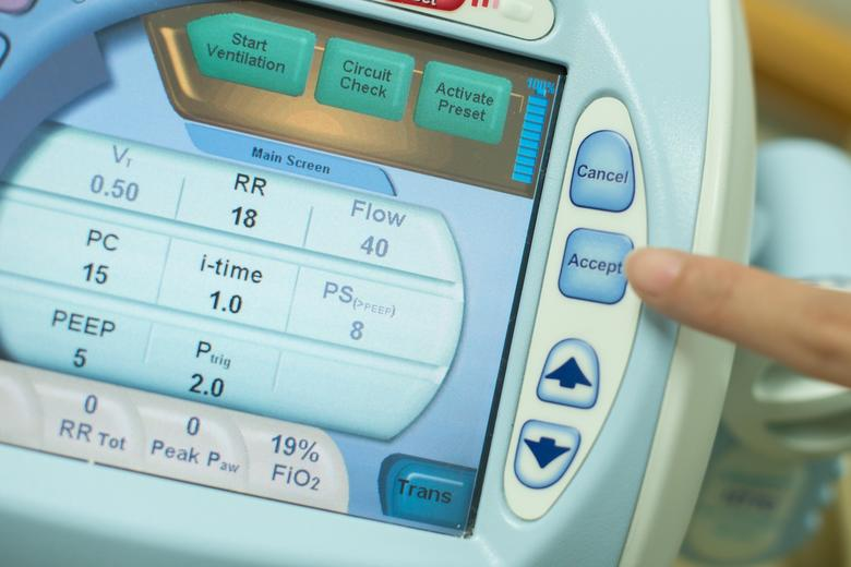 The control panel of a medical ventilator