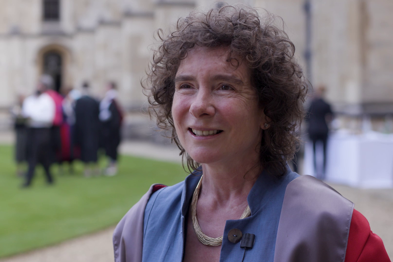 Jeanette Winterson CBE talked to camera during a film made about Oxford's 2021 Encaenia