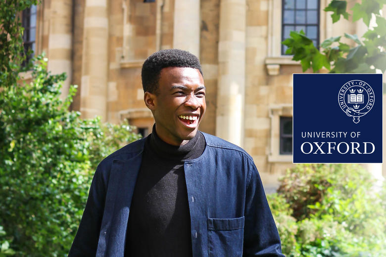 Promotional image showing a black male graduate student