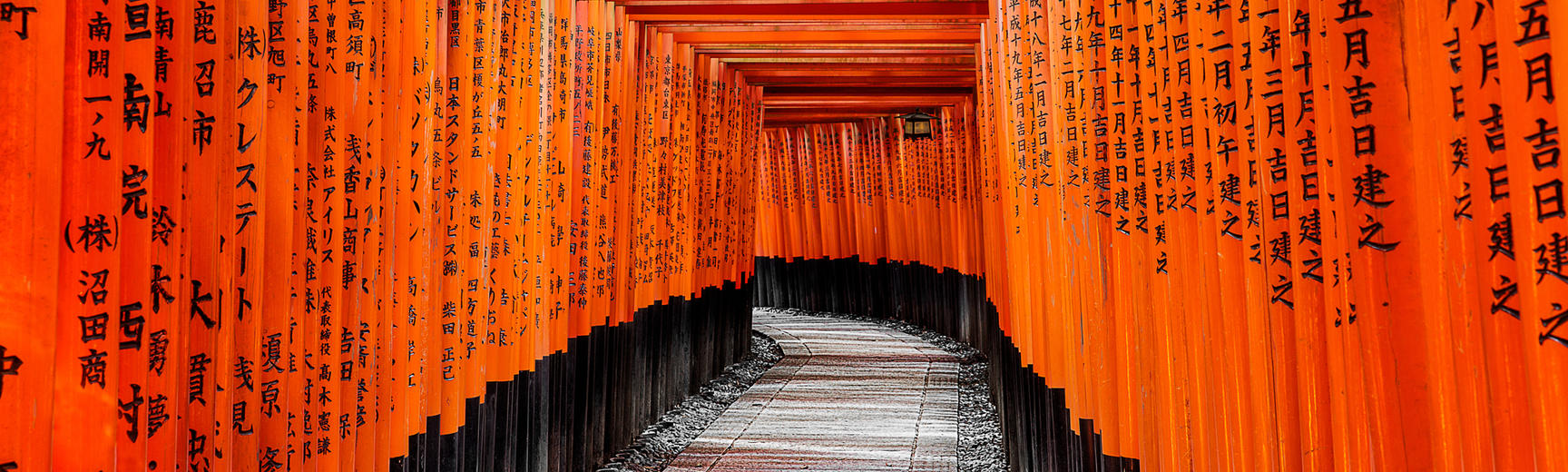 Torii leading to the outer shrine, at the Fushimi Inari-taisha in Kyoto