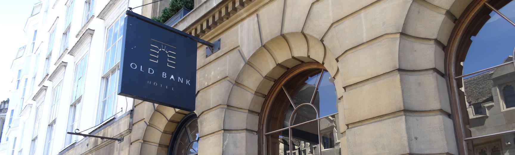 The exterior and sign of the Old Bank Hotel in Oxford
