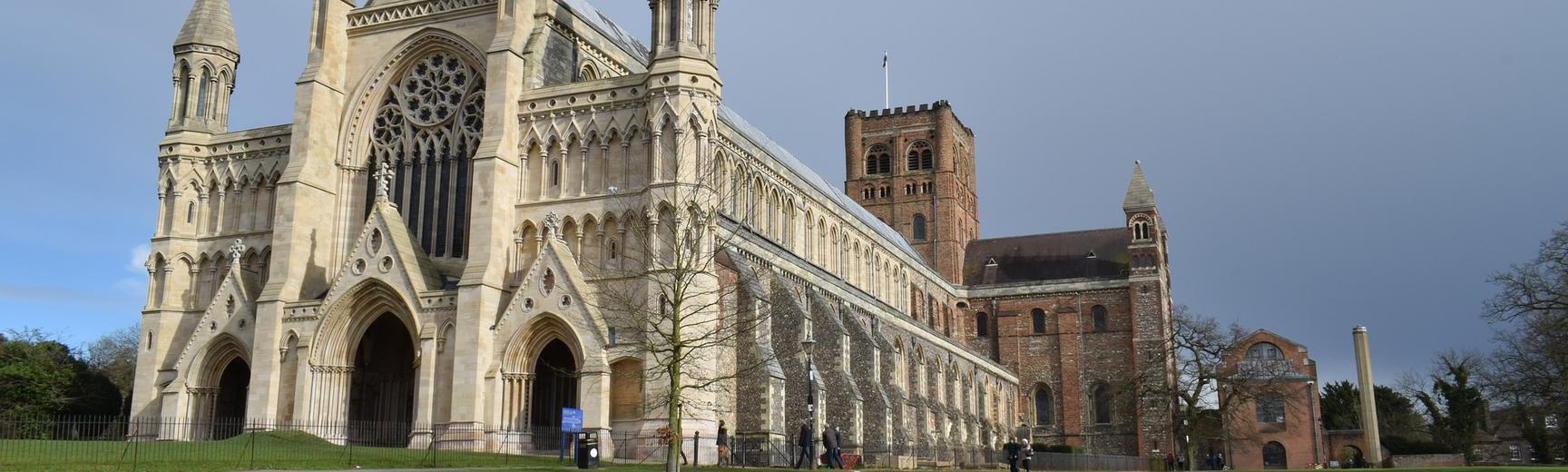 The exterior of St Albans Cathedral