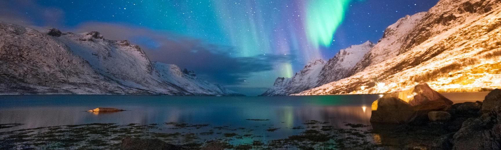 Aurora Borealis over the Norwegian coast