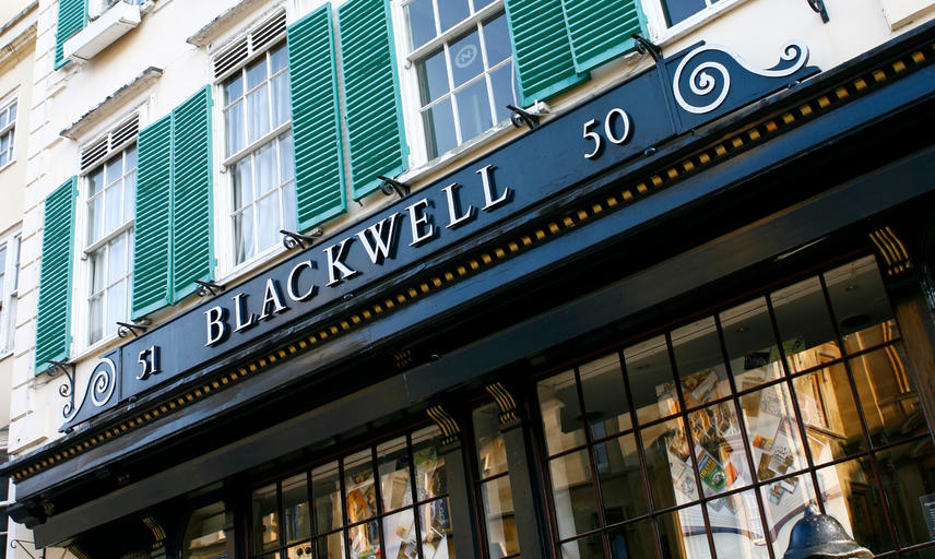 Blackwell's shop front at 50 Broad Street