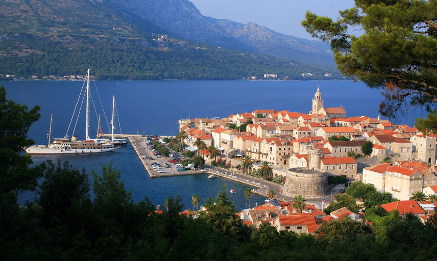 A view of the harbour of Korcula island from the hillside
