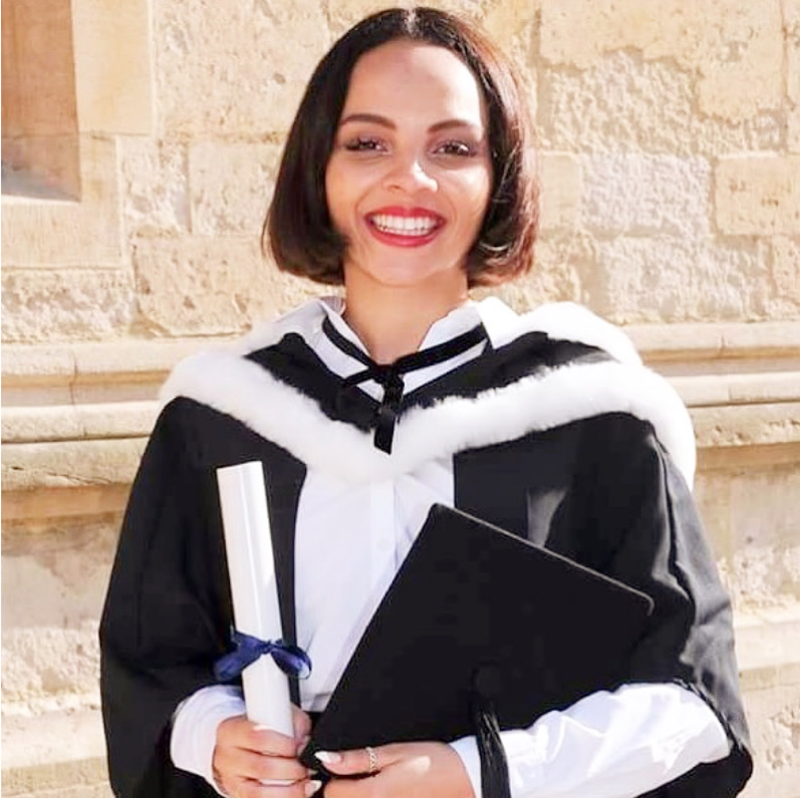 Alexandra Wilson at her graduation from Oxford in 2016. She read PPE.