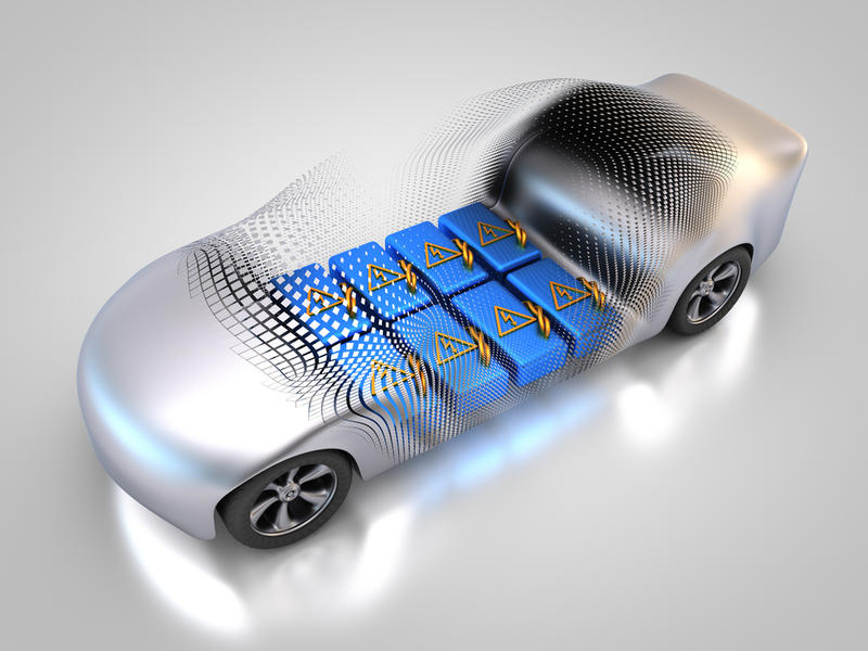 A graphic showing the positioning of batteries beneath the chassis on an electric car