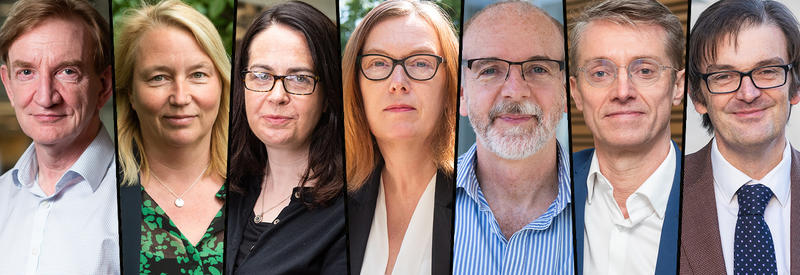 Queen's Birthday Honours 2021 recipients. Pictured from left to right: Adrian Hill, Catherine Green, Teresa Lambe, Sarah Gilbert, Andrew Pollard, Peter Horby, Martin Landray