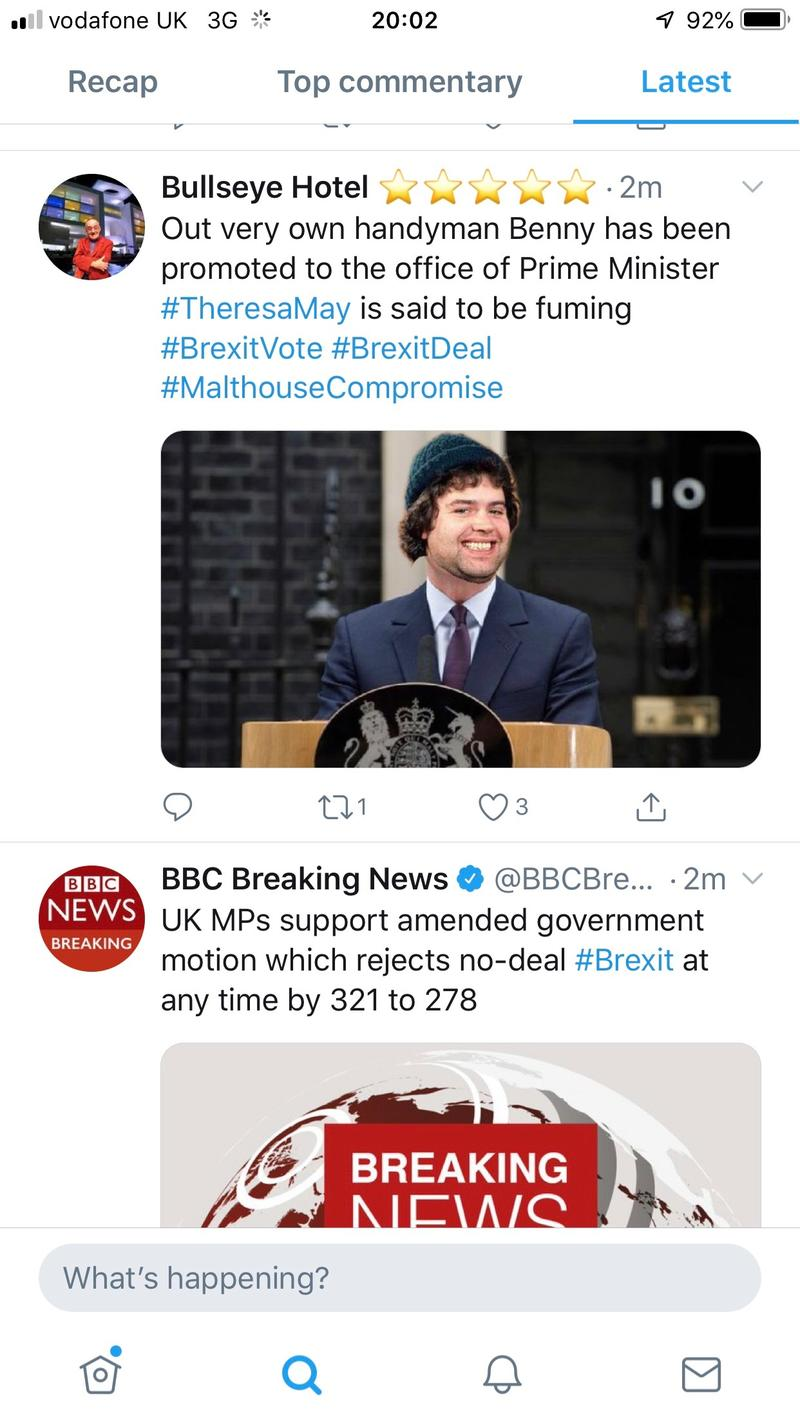 A screenshot from Twitter, with a tweet from 'Bullseye Hotel' with a manipulated image of Benny from Crossroads as Prime Minister, above a tweet from BBC news reporting MPs supporting a motion to reject a no-deal Brexit