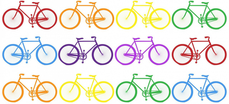 A drawing of twelve bikes of different colours