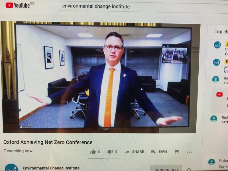 A screenshot of the live stream of the New Zealand minister for climate change James Shaw speaking as part of the Oxford's Environmental Change Institute conference