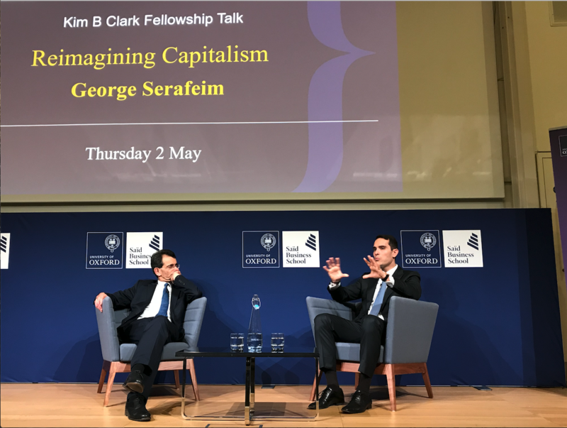 Professors Colin Mayer and George Serafeim speaking at a lecture