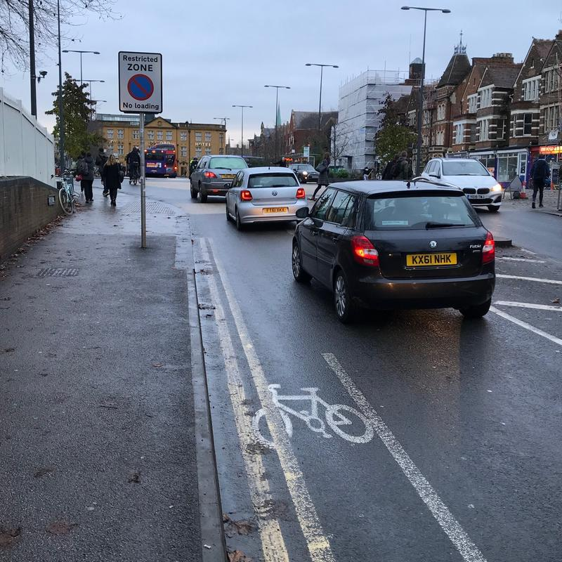 A cycle lane ending on the entry to Frideswide Square in Oxford