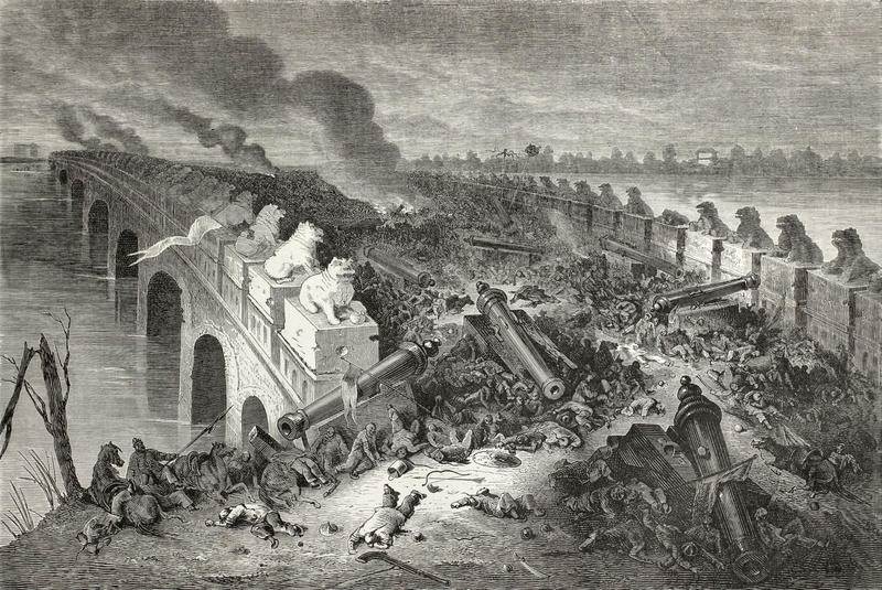 An old illustration showing a bridge on which a battle has taken place, with hundreds of bodies, abandoned cannons, and smoke billowing in to the sky
