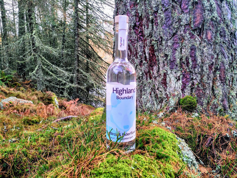 A bottle of Highland Boundary stood on a moss covered stone