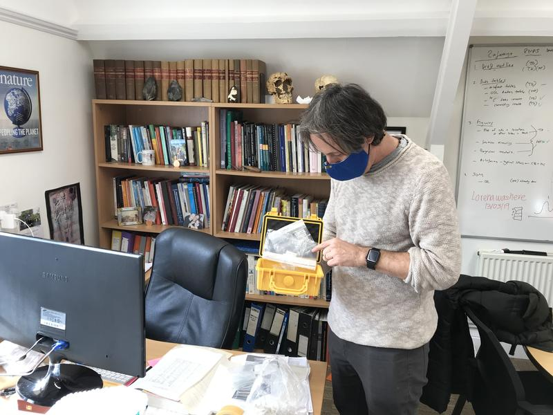 Professor Tom Higham working in his office