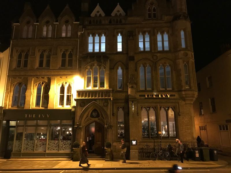 The exterior ofThe Ivy, Oxford, at night