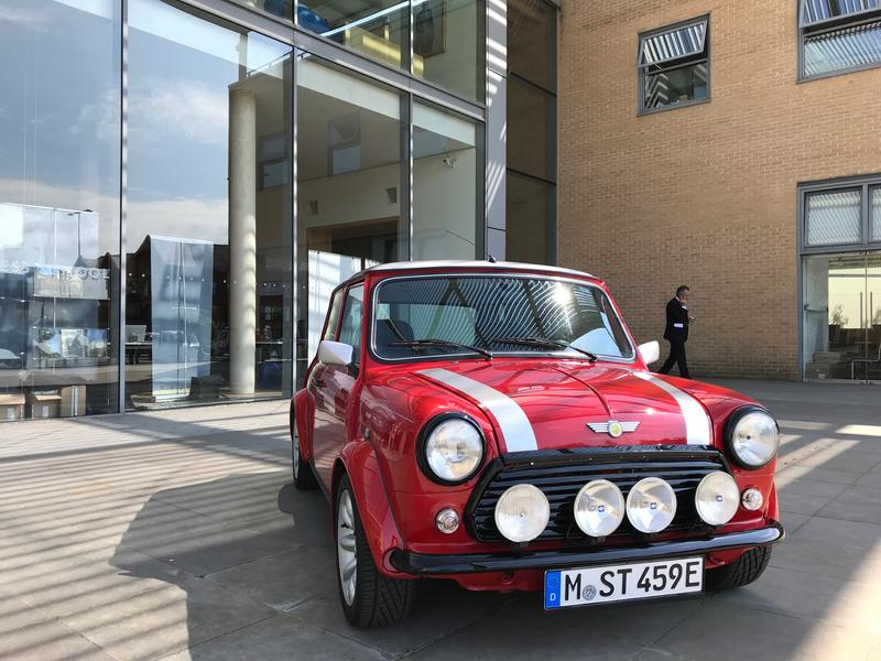 A classic MINI converted into an electric car on displayed at Oxford's first EV Summit in 2018