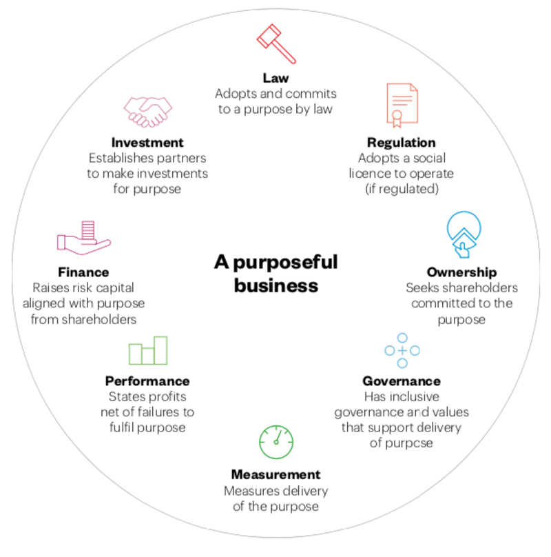 A diagram titled 'A purposeful business', it has the eight elements within a circle: Finance, Performance, Measurement, Governance, Ownership, Regulation, Law and Investment
