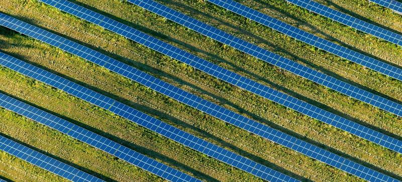 An aerial view of a field of solar cells