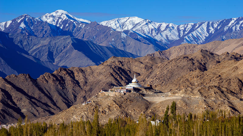 Stupa in Leh-Ladakh city, an ornate building nestled amongst snow capped, bare mountains