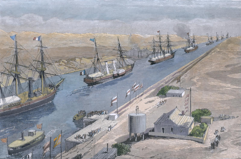 A painting of the Suez Canal, with sail boats moving through it