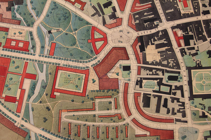 The Thomas Sharp map of Oxford, focusing on the area around the Castle and western end of Queen Street