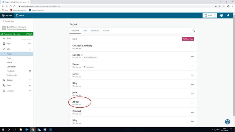 A screenshot showing the page listing for a WordPress site, with the link to the 'About' page on the site highlighted