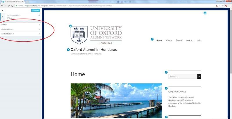 A screenshot of a WordPress webpage in the editing phase, with the button to add a new widget to the page highlighted