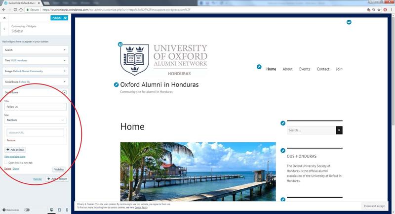 A screenshot of a WordPress webpage in the editing phase, with options to change how the social media icons display highlighted