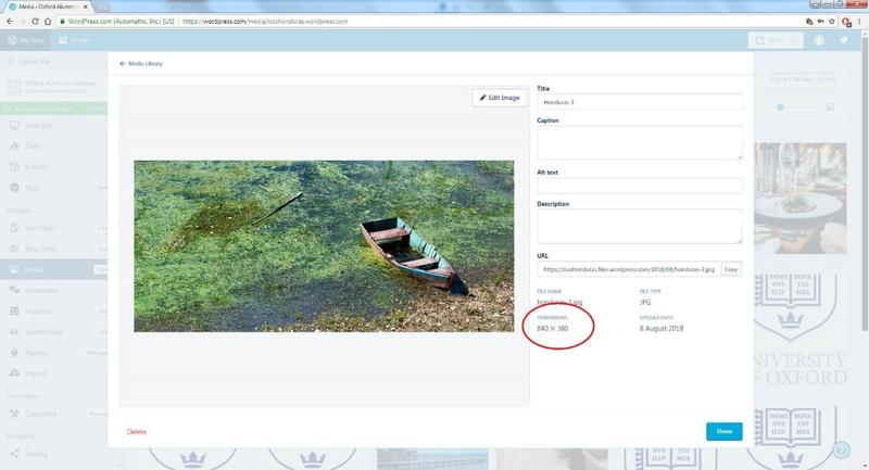 A screenshot of the pop-up for adding images to a blog on a WordPress site, with the image dimensions options highlighted