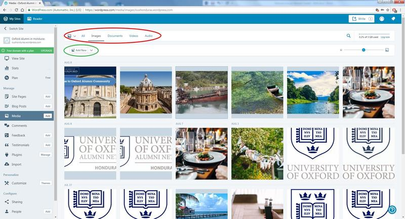 A screenshot of the media library on an alumni site within WordPress, with the buttons to change between media types, and the button to add a new image, highlighted